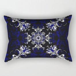 Dark Blue, Black, and White Pattern Rectangular Pillow