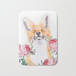 Happy Fox And Pink Roses Bath Mat