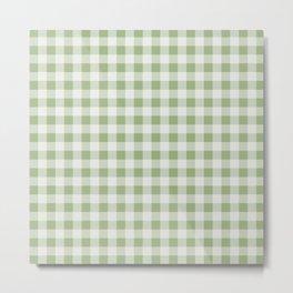 Gingham Pattern - Natural Green Metal Print