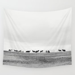 Black and White Horses in Landscape Photograph, Iceland Wall Tapestry