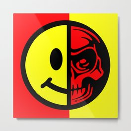 Smiley Face Skull Yellow Red Metal Print