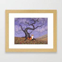 the rainy fox Framed Art Print