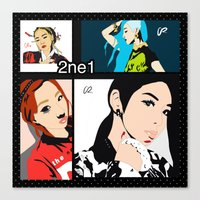 2ne1 Canvas Prints featuring Collage of 2ne1 by NelxArt