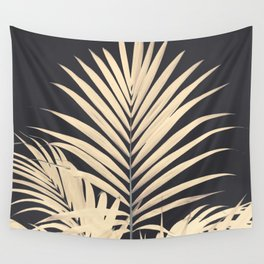 Inverted Vision   White sepia palm tree leaf photography on grey black Wall Tapestry