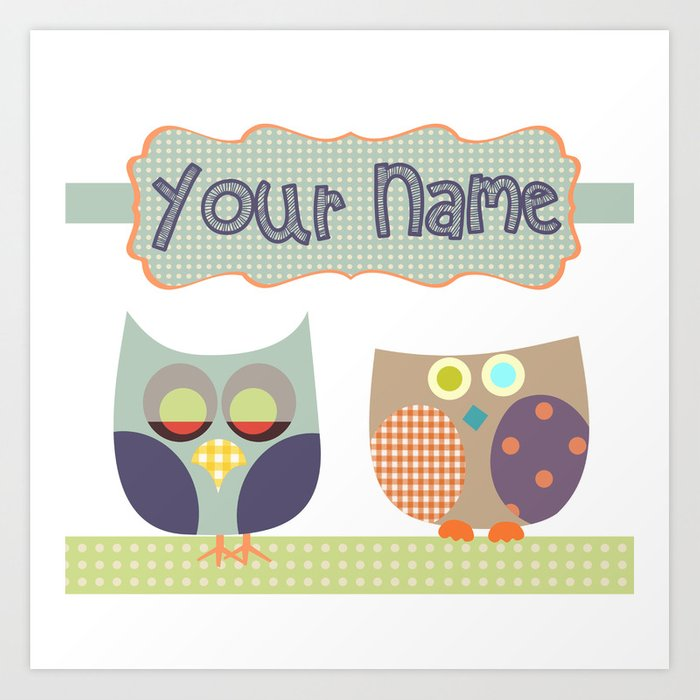 Personalized Home Decor Owls Patchwork Style In Nursery Room Monogrammed Custom Kids Name Wall Art Print By Lubo