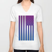american flag V-neck T-shirts featuring American Flag by Tiede van der Steege