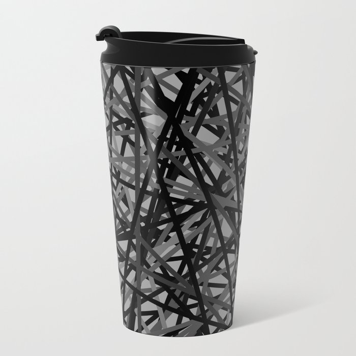 Kerplunk Extended Black and White Metal Travel Mug