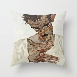 Egon Schiele - Self Portrait With Lowered Head Throw Pillow