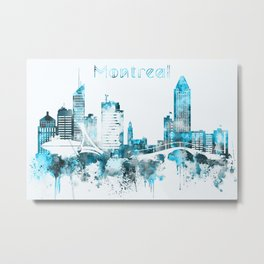 Montreal Monochrome Blue Skyline Metal Print