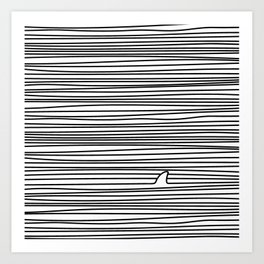 Minimal Line Drawing Simple Unique Shark Fin Gift Art Print