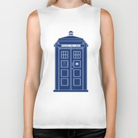 blueprint Biker Tanks featuring TARDIS Blueprint - Doctor Who by BeckiBoos