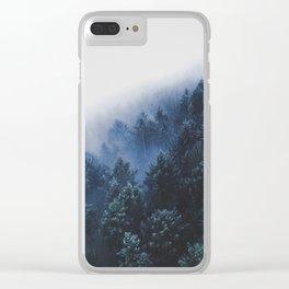 Foggy Blue Purple Mountain hill Pine Trees Landscape Nature Photography Minimalist Modern Art Clear iPhone Case