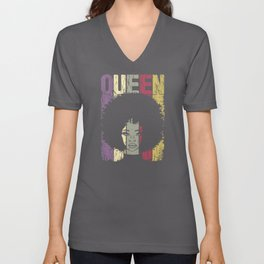 Black Queen Educated Strong Beautiful Afro Unisex V-Neck