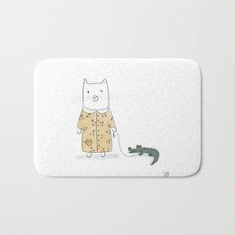 Cat and her pet, Caiman Bath Mat