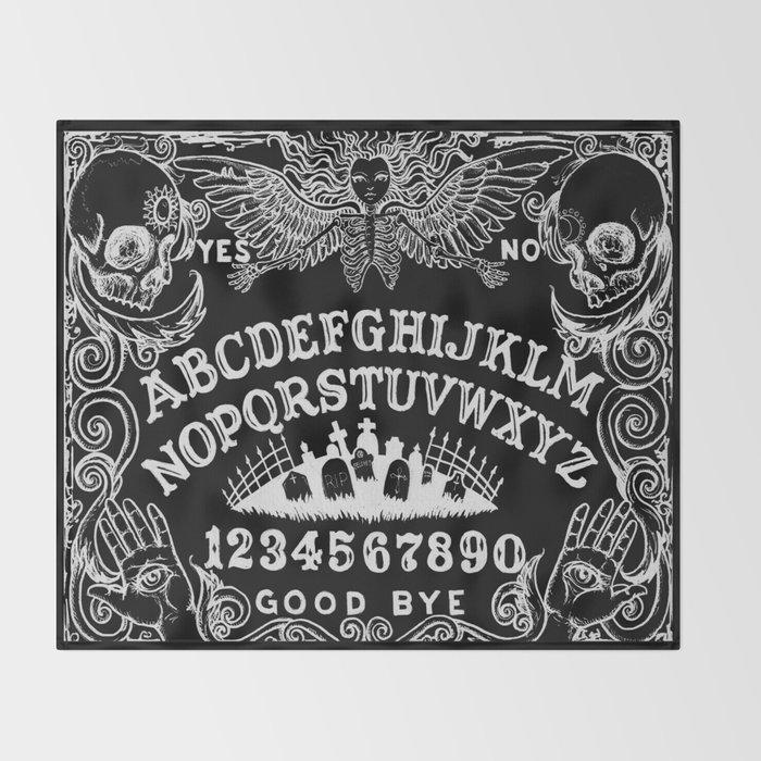 Ouija Board Black Throw Blanket