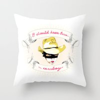 cowboy Throw Pillows featuring Cowboy by la belette rose