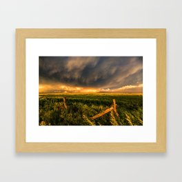 Breadbasket - Golden Light Illuminates Fence and Field in Kansas Framed Art Print