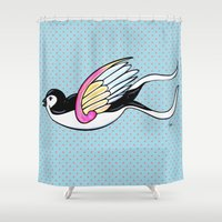 swallow Shower Curtains featuring Little swallow by Mamzelle Lilou