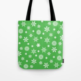 Snow Flurries-Christmassy Green Tote Bag