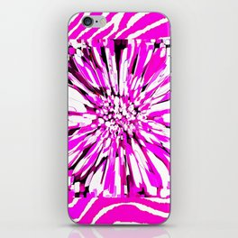 Zebras and Dahlias Pink and White Abstract iPhone Skin