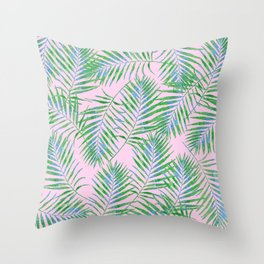 Fern Leaves Pink Throw Pillow