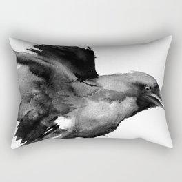Flying Raven. tribal raven lover black and white raven decor Rectangular Pillow