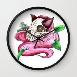 Neko skull girl: Catnip Wall Clock