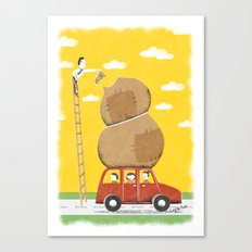Road trip with teddy, or else Canvas Print