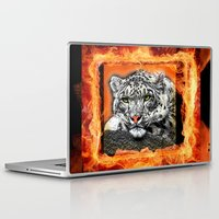 snow leopard Laptop & iPad Skins featuring Snow Leopard by SwanniePhotoArt