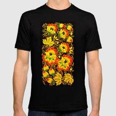 Flower Design Mens Fitted Tee MEDIUM Black