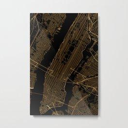 Black and gold New York City map Metal Print