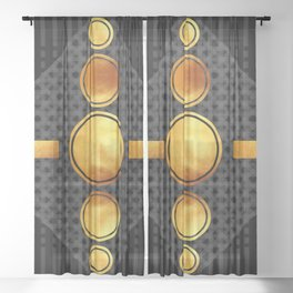 Black And Gold Abstract - Modern Geometric Abstract - Pattern Design - Art Deco Abstract Sheer Curtain