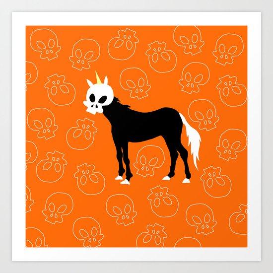 Skullhead Unicorn Art Print