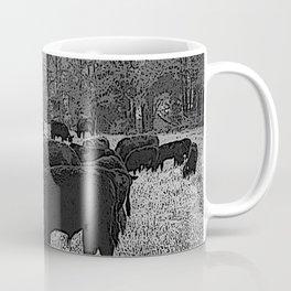 Black & White Cattle Grazing Pencil Drawing Photo Coffee Mug