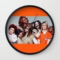 oitnb Wall Clocks featuring OITNB by I Love Decor