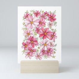 Pink Spring Flower Pattern Mini Art Print