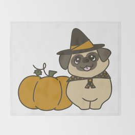 Pug-kin Patch Witch Throw Blanket