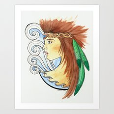Girl with Feathers Art Print