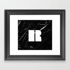 Black Marble - Alphabet R Framed Art Print