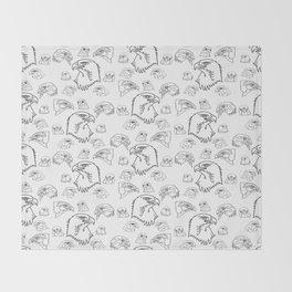 Birds of Prey - black on white Throw Blanket