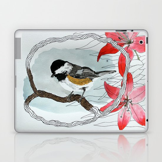 Black capped chickadee and fantasy flowers and lines Laptop & iPad Skin