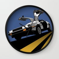 delorean Wall Clocks featuring Delorean - Retro Poster; Blue by Geoff Ombao Car Art