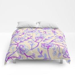 Watercolor Peonies - Peach Violet Comforters