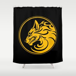 Yellow and Black Growling Wolf Disc Shower Curtain