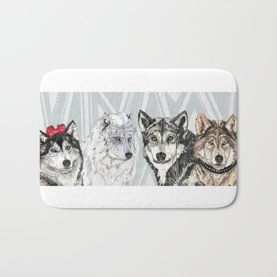 Wolf Family Portrait Bath Mat