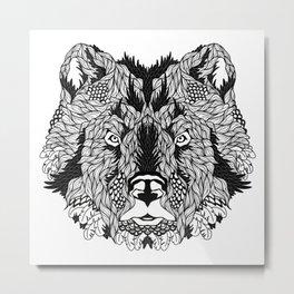 BEAR head. psychedelic / zentangle style Metal Print