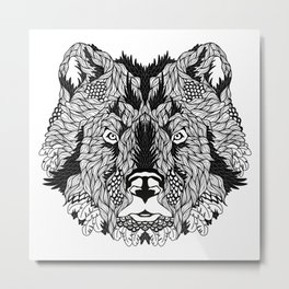 BEAR head. psychedelic / zentangle style Metal Print