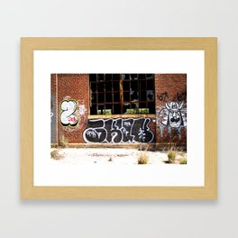 Broken Windows and Graffiti Wall Framed Art Print