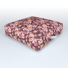 Floral Wind Wine Red Outdoor Floor Cushion