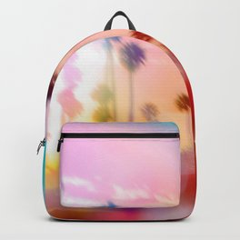 palm tree with sunset sky and light bokeh abstract background Backpack